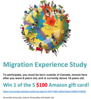 Migration experience survey, win 1 of the 5 $100 gift cards!