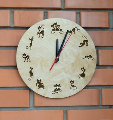 Gift Engraved Wooden Wall Clocks Decorative Silent Indoor Home Rustic Country