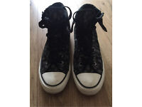 Women's Black, Grey and White Leopard Print High Top Converse Size 5 Worn Once