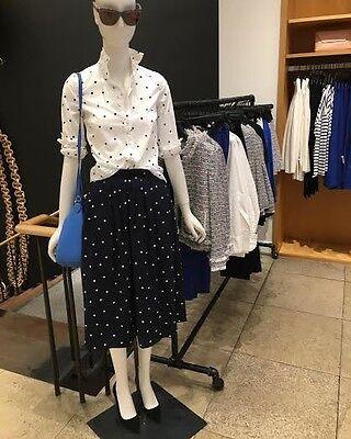 J Crew NWT Pleated Midi Skirt in Polka Dot, 0