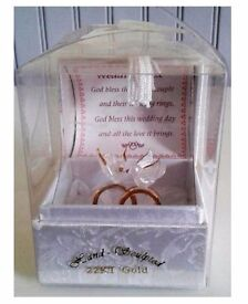 Hand Sculpted 22KT Gold Boxed Wedding Rings