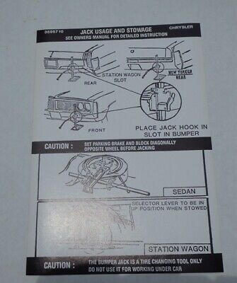 Mopar 72 Chrysler Jack Instructions Decal NEW 3595710 DD0279