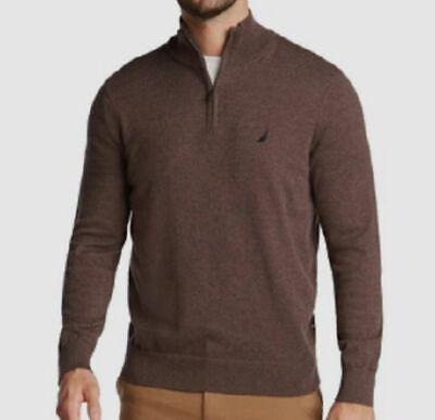 $110 Nautica Mens Sweater Quarter-Zip Fleece Pullover Sweatshirt Brown Size L