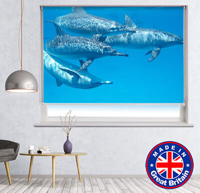 Dolphins Under the Sea Picture Printed Photo Window Blind Blackout Remote opt