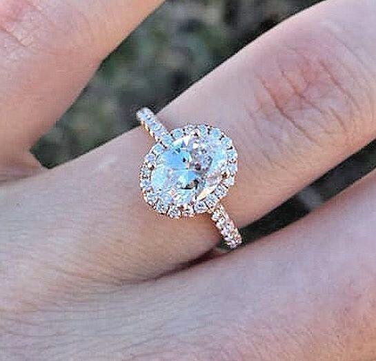 BRAND NEW 1.75 Ct Oval Cut Diamond Halo Engagement Ring U-Setting E,VS2 GIA 14K