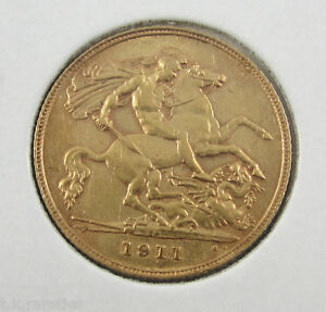 1911p GOLD GEORGE V half sovereign. . Be quick for this key date coin in a/unc