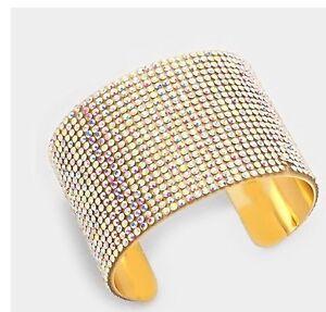 2-034-Wide-Gold-Rhinestone-Bridal-Ab-Aurora-Formal-Pageant-Crystal-Cuff-Bracelet