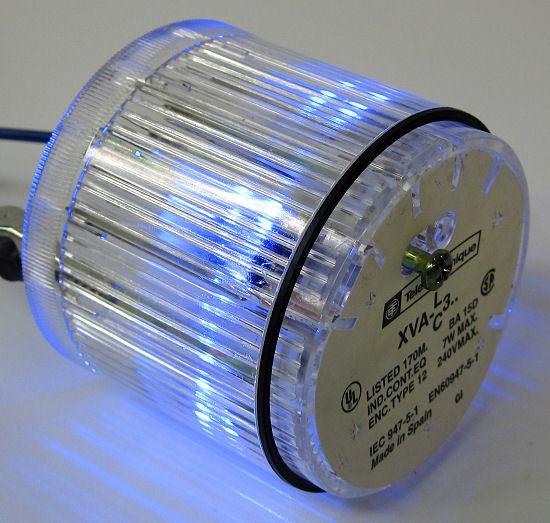 Telemecanique XVA-C371 Clear Stack Light Lens w/ DL1BDB6 24V Blue LED Cluster