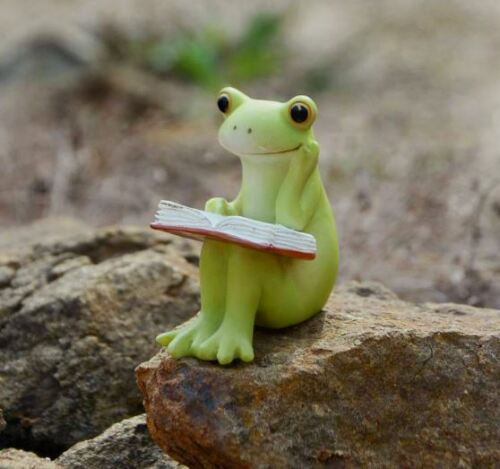 Miniature Dollhouse FAIRY GARDEN Figurine ~ Cute Mini Frog Reading a Book