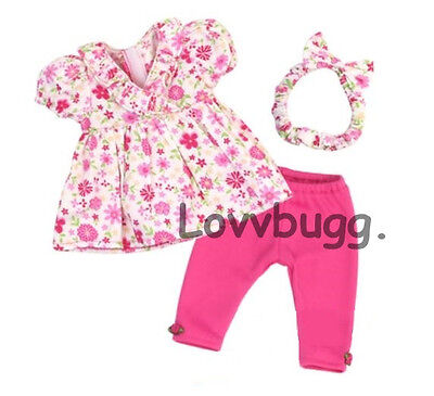 "Lovvbugg Pink Floral Top and Leggings Set For 15"" Bitty Baby Doll Clothes"