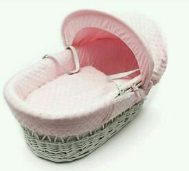 Kinder valley pink Dimple with white Wicker moses basket. Brand new 4 left in stock.