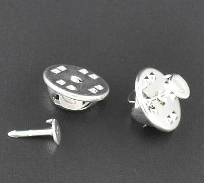 50 Tie-Tac Silver Plated Lapel Pins 4mm Pad with Clutch Base J09036B