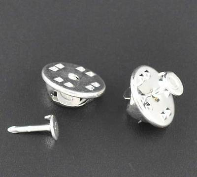 50 Tie-Tac Silver Plated Lapel Pins 4mm Pad with Clutch Base J09036