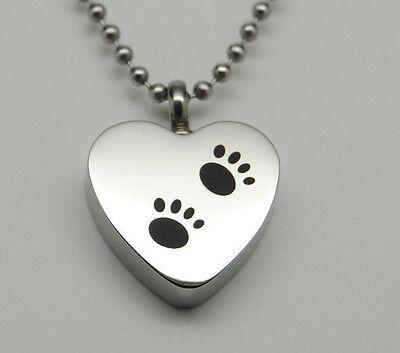 Paw Heart Urn Necklace Holds Dog Or Cat Ashes Engraveable Pet Keepsake - $9.99
