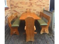 Solid elm rustic dining/kitchen table with 2 benches and 2 chairs
