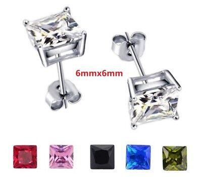 6mm Men Women Sterling Silver Square Cubic Zirconia Stud Earrings Gift Box PE23 6 Mm Square Stud