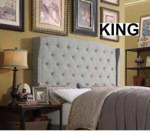 NEW UPHOLSTERED WINGBACK HEADBOARD A83K 140799642 King Grey - HEADBOARD ONLY