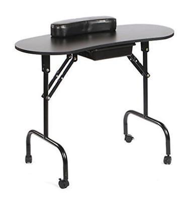Black Portable Foldable Manicure Station Nail Technician Table Beauty Salon Desk