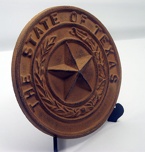 "Cast Iron- Large Texas State Seal   Rust Color 8 1/2"" Dia Western Wall Decor"