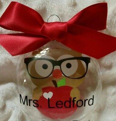 (Teacher Owl School shatterproof personalized Christmas Ornament)