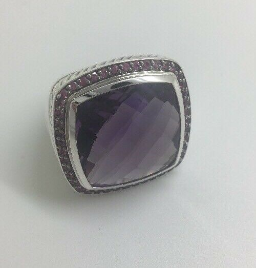 David Yurman Sterling Silver Albion Ring With 20mm Amethyst & Pink Tourmaline