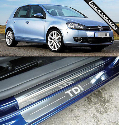 VW Golf Mk6 TDI (09 - 12) 4 Door Stainless Steel Sill Protectors / Kick Plates
