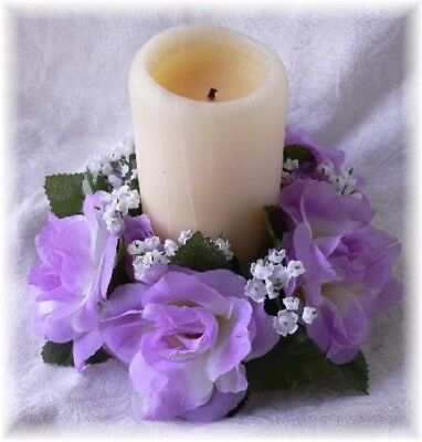 6 Roses Candle Rings LAVENDER LILAC Silk Roses Wedding Flower Centerpieces - Lavender Centerpieces