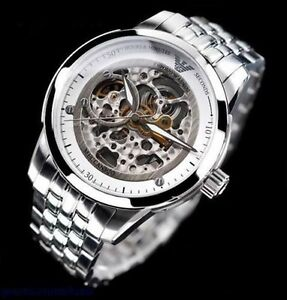 Mens Emporio Armani AR4626 Meccanico Polished Steel Watch 2 Year Warranty