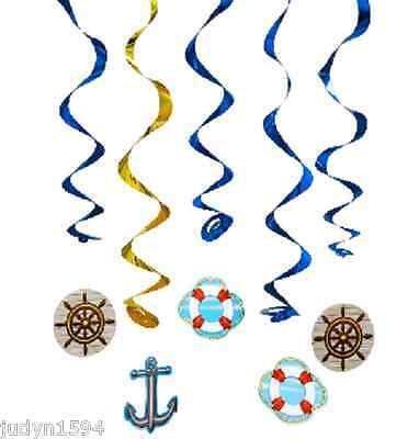 PACK 5 CRUISE SHIP SWIRLS NAUTICAL BON VOYAGE PARTY HANGING DECORATIONS - Bon Voyage Party Decorations