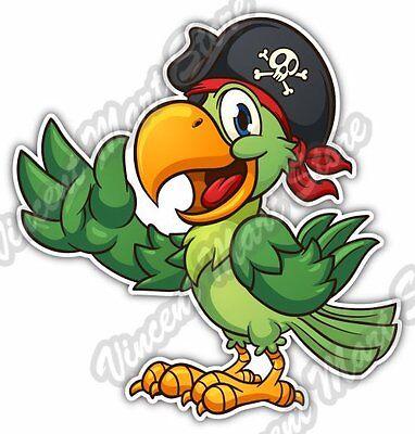 """Cartoon Pirate Parrot Bird Tropical Car Bumper Window Vinyl Sticker Decal 4""""X5"""""""
