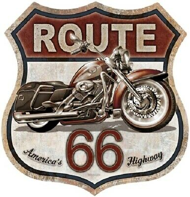 Route 66 Bike Motorcycle Hot Rod Retro Garage Shop Wall Decor Metal Tin Sign