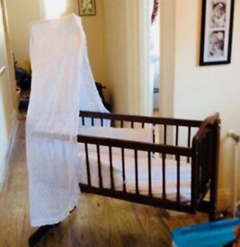 Baby Cotbed /Crib. Swing motion and Static. Inc mattress, cover, drape, bumper