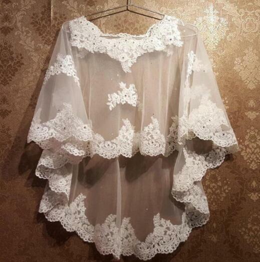 White/Ivory Bridal Lace Applique&beaded Cape Wedding Shawl Evening Dress Bolero