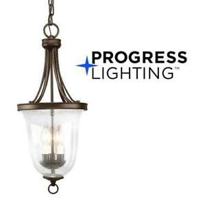 NEW PROGRESS LIGHTING FOYER PENDANT LAMP P3753-20 201320925 SEEDED GLASS, ANTIQUE BRONZE FINISH