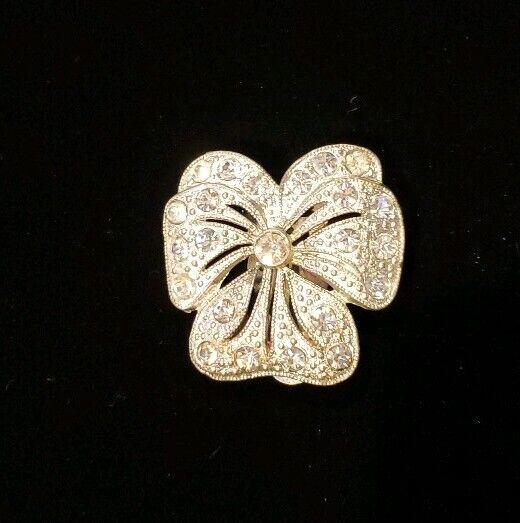 Victorian Scarf Clip Sash Pin Bow Paste Rhinestone