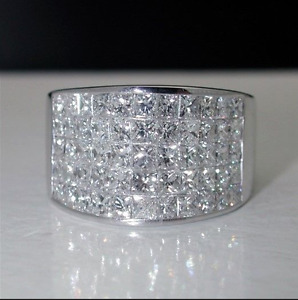 6 Carat INVISIBLE SET DIAMOND UNISEX BAND RING