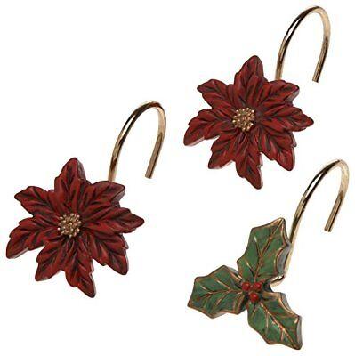 Poinsettia Ceramic Resin Shower Curtain Hooks Christmas Holiday Set of 12 (Shower Curtains Hooks)
