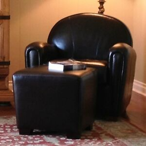 2 Tub Chairs, Ottoman, high quality leather, excellent condition