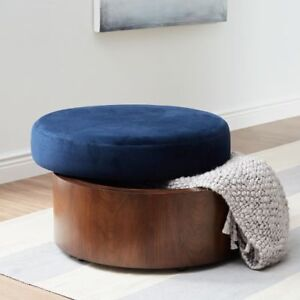 brand new Upolstered Storage Ottoman Round Fabric/Wood Ink Blue