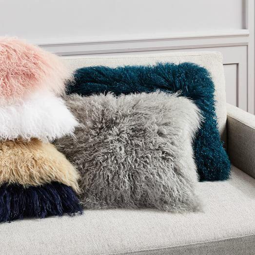"Real Mongolian Tibetan Lamb Fur Pillow Cushion 18""X18"" Mon C"
