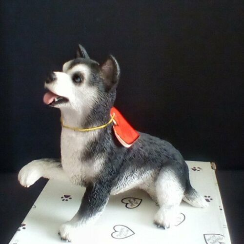 "Playful Husky Puppy Figurine - 5 1/4"" long - NIB - Last one in stock"