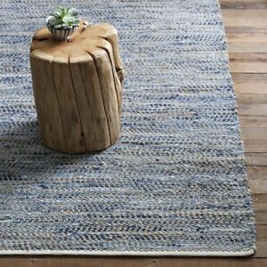 West Elm Recycled Denim Jute Rug 8x10