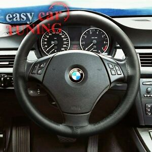 BMW E46 3 SERIES 1998-06 BLACK REAL GENUINE LEATHER STEERING WHEEL COVER NEW
