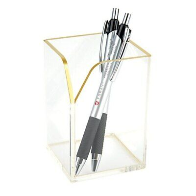 Brand New Realspace™ Acrylic Pencil Cup, 100% Recycled, Clear/Gold