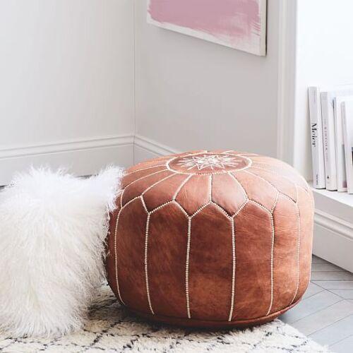 MOROCCAN POUF - Handmade Dark Brown Pouf Leather Ottoman Footstool Pouffe