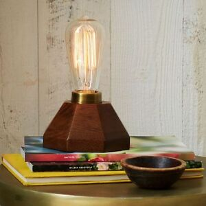 *NEW* West Elm Wood Faceted Lamp