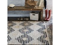 West Elm Diamond Leather Jute Rug in VERY GOOD condition!