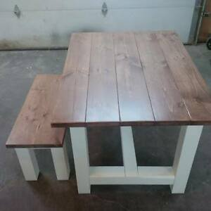 Rustic dining table with 1 bench, free delivery