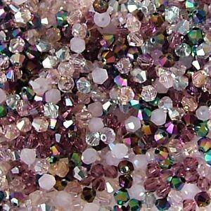 100 x 4mm Crystal Bicone Beads Pink Mix Tiaras  & Jewellery Making