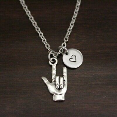 Sign Language - I Love You Hand Signal Necklace - ASL Necklace- Wife Necklace - Sign Language I Love You
